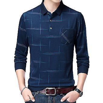 Mannen polo hals lijn stiksels lange mouw T-shirt