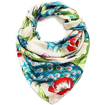 One Hundred Stars Peacock And Poppies Silk Scarf