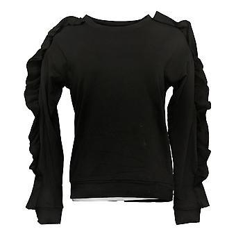 G By Giuliana Women's Sweatshirt Ruffle Detail Long Sleeve Black 637367