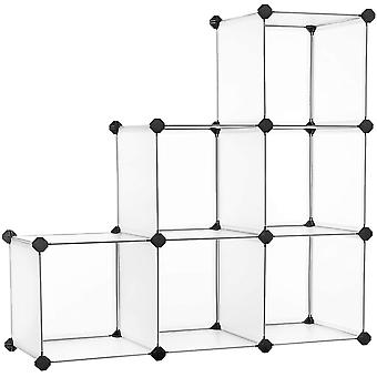 Steckregal, Kunststoffregal, DIY-Wrfelregal, Stufenregal, Regalsystem, 6 Fcher, fr