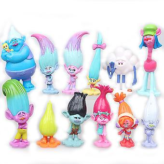 12szt Trolle Oddział Poppy Figure Toy Collection Model Cake Decoration