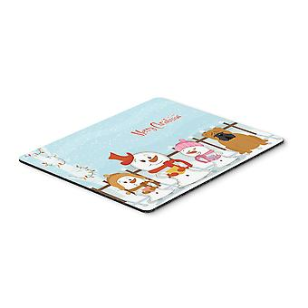 Caroline s Treasures Merry Christmas Carolers Englisch Bulldogge Red Mouse Pad, Multicolor, 7.75X9.25 (Bb2453Mp)