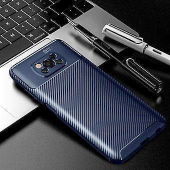 Auto Focus Xiaomi Poco M3 Case - Carbon Fiber Texture Shockproof Case Rubber Cover Blue