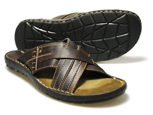 Red Tape Men's Lew Brown Leather Sandals