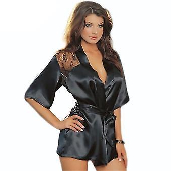 サタンレース着物親密なスリープウェアローブセクシーナイトプラスサイズ