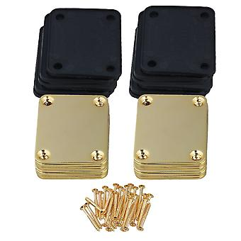 20 pcs Placa de pescoço de guitarra elétrica e parafusos acabamento dourado 64mm x 51mm