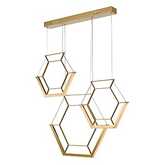 Hexagon Cluster Pendant Light Gold LED, 3x LED