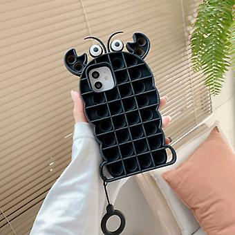 N1986N iPhone 7 Plus Pop It Case - Silicone Bubble Toy Case Anti Stress Cover Lobster Black