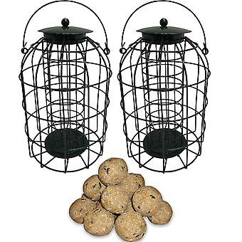 2 x Simply Direct Squirrel Resistant Guard Fat Ball Feeders with Bag of 45 Suet Fat Balls Wild Bird Feed