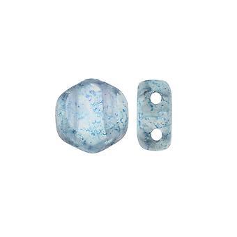 Czech Glass Honeycomb Beads, 2-Hole Hexagon 6mm, 30 Pieces, Transparent Blue Luster