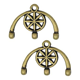 Cymbal Bead Endings fit 8/0 Round Beads, Amatos III, 13mm, 2 Pieces, Antiqued Brass Plated