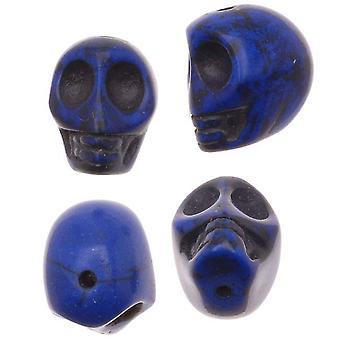 Perełki Szlachetne, Barwiony magnezyt, Rzeźbiona czaszka 12x10mm, 20 Sztuk, Lapis Blue