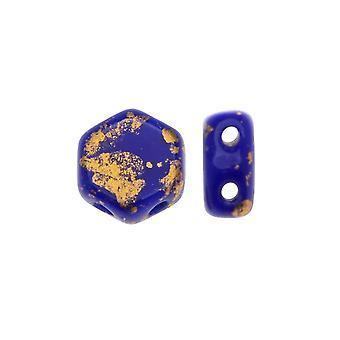 Czech Glass Honeycomb Beads, 2-Hole Hexagon 6mm, 30 Pieces, Metallic Gold Splash on Royal Blue