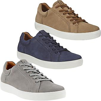 ECCO Mens Soft 7 Low Nubuck Leather Lace Up Casual Trainers Sneakers Shoes