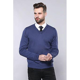V neck blue sweater   wessi