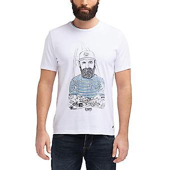 MUSTANG Illustration Tee T-Shirt, Vit (Allmänt Vit 2045), Liten Man