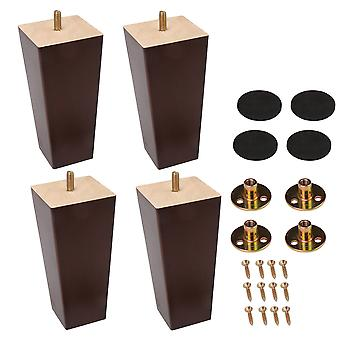 4x Walnut Color Wood Sofa Legs for Cabinet Couch Dresser 5.91x2.76x1.97Inch