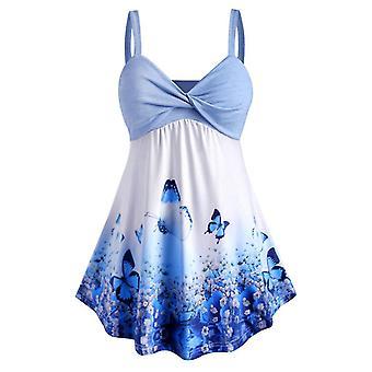 Mavi xxl kadın büyük beden kelebek baskı tankı üst elbise cai1311
