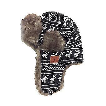 Schwarzes Muster Bluetooth Winter Trapper ushanka winddichte Mütze Mütze russische Hüte für Männer und Frauen Outdoor-SkiSport x3392