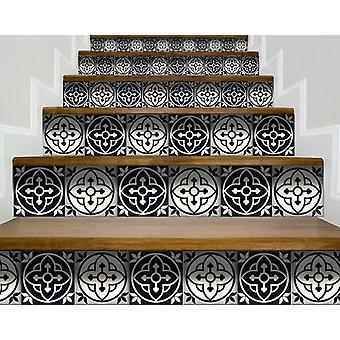 """7"""" X 7"""" Black and White Rory Peel and Stick Removable Tiles"""