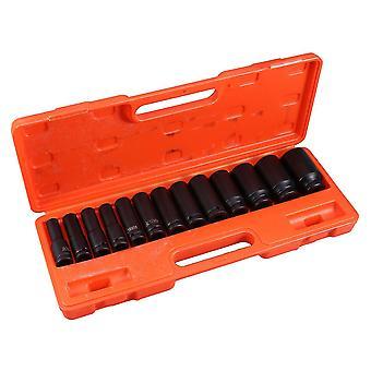 13pcs Auto Reifen Schutz Ärmel Wand Deep Impact Nut Stahl Rad Sockel Auto Sleeve Hand Tool Kit (schwarz)