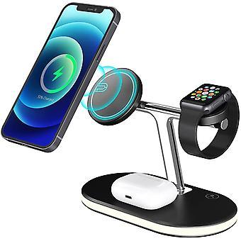 Wireless Ladegerät 3 in 1 Magnetisches drahtloses Ladegerät Ständer 15W Schnellladestation Kompatibel mit MagSafe Ladegerät / iPhone 12 /12 Pro/12 Pro Max/12 mini/AirPod 2/Pro/Apple Watch 6/5/4/3/2/SE,(schwarz)