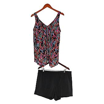 Fit 4 U Plus Swimsuit V Neck Handkerchief Hem Boy Short Black A394007