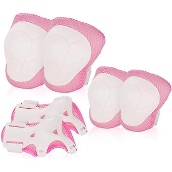 Kids Knee Pad Elbowguards Protective Gear Set For Roller Skates Cycling(Pink)