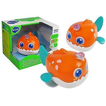 Giocattoli da bagno pesce arancione galleggiante con luce e irrigatore