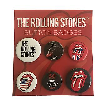 The Rolling Stones Badge Pack Classic Tongue Logo Official (4x 25mm & 2x 32mm)