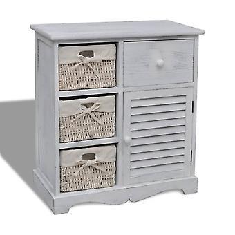 vidaXL خزانة خشبية مع 3 سلال الخوص الأبيض