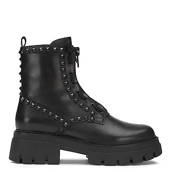 Ash LYNCH STUDS Zip Boots Black Leather