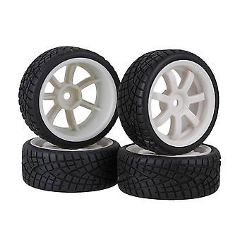 Remote control toy accessories 4pcs fish pattern rubber tire&7spoke white plastic wheel rims for rc1:10 car