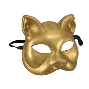 Gold Finish Half Face Carnivale Gatto Cat Costume Masks