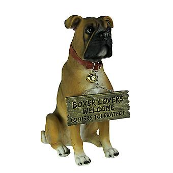 Boxer Dog with Double Sided Sign Indoor/Outdoor Statue