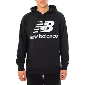 Felpa uomo new balance essentials stacked logo po hoodie mt03558bk