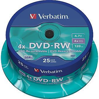 Verbatim DVD-RW 4 x 4,7 GB, 120 min, / 25-Pack Spindel, SERL