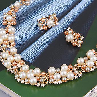 Party kézműves menyasszonyi utánzat gyöngy nyaklánc fülbevaló ékszer szett