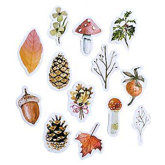 46pcs / paquet Décor Autocollant Boîte Emballé Notebook Cup Sticker Belle Fenêtre Autocollants (automne Forest Pattern)