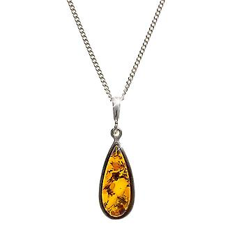 Eira Wen  Necklace With Amber Pendant Set In Sterling Silver Chain Jewellery For Women Ladies Anniversary Birthday Mothers Day Gifts For Her Mum Wife