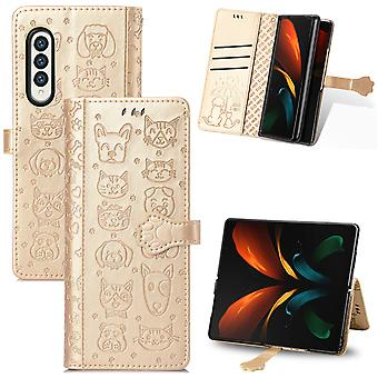 Case For Samsung Galaxy Z Fold 3 Wallet Embossed Cover Etui Housse Cat Dog Pattern - Gold