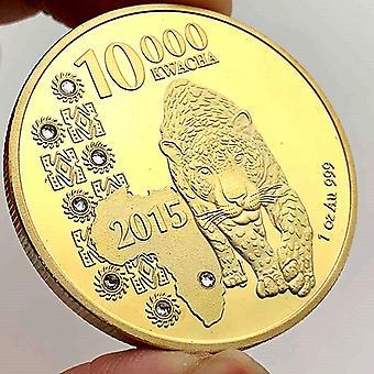 African Zambian Animal Leopard Pièce commémorative plaquée or Collection de pièces d'or Artisanat Pièce d'or Diamant Médaille commémorative