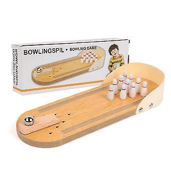 Caraele Mini Boule de Bowling en Bois Jouets pour Enfants, Jeux Interactifs de Table Parent-Enfant