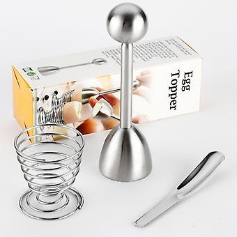 3pcs rustfritt stål egg topper / fjær rack eggeskall separator med scoop