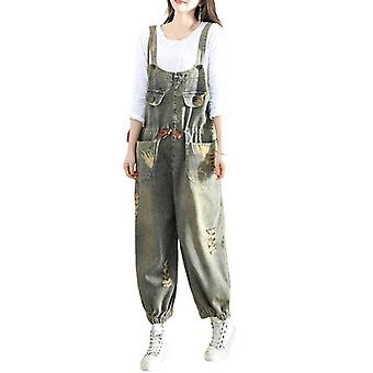 Ripped Demin Pants Jeans Oversize Printed Overalls