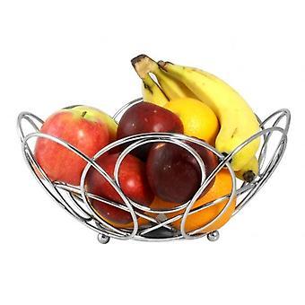 Fruit Basket Chrome Round Shape Fruit Bowl 25cm