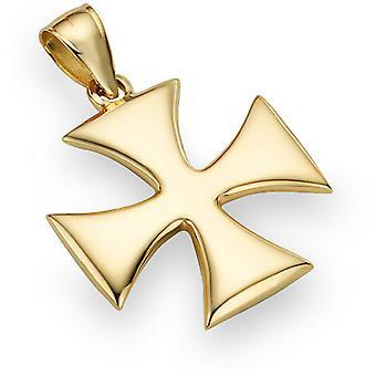 Saint guerrier Croix pendentif, 14K or jaune