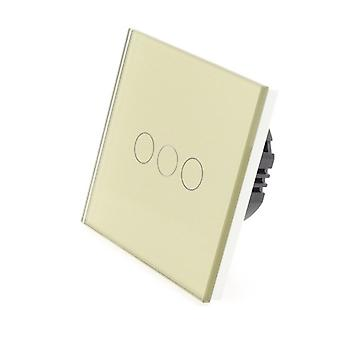 I LumoS Gold Glass 3 Gang 1 Way Remote Touch LED Light Switch