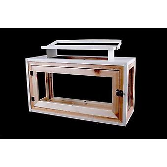 HOLZ-METALL-GLAS-BOX LATERNE MIT GRIFF 40,5 CM
