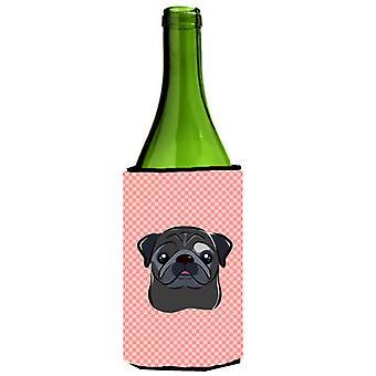 Sjakkbrett rosa svart Pug vinflaske drikke isolator Hugger